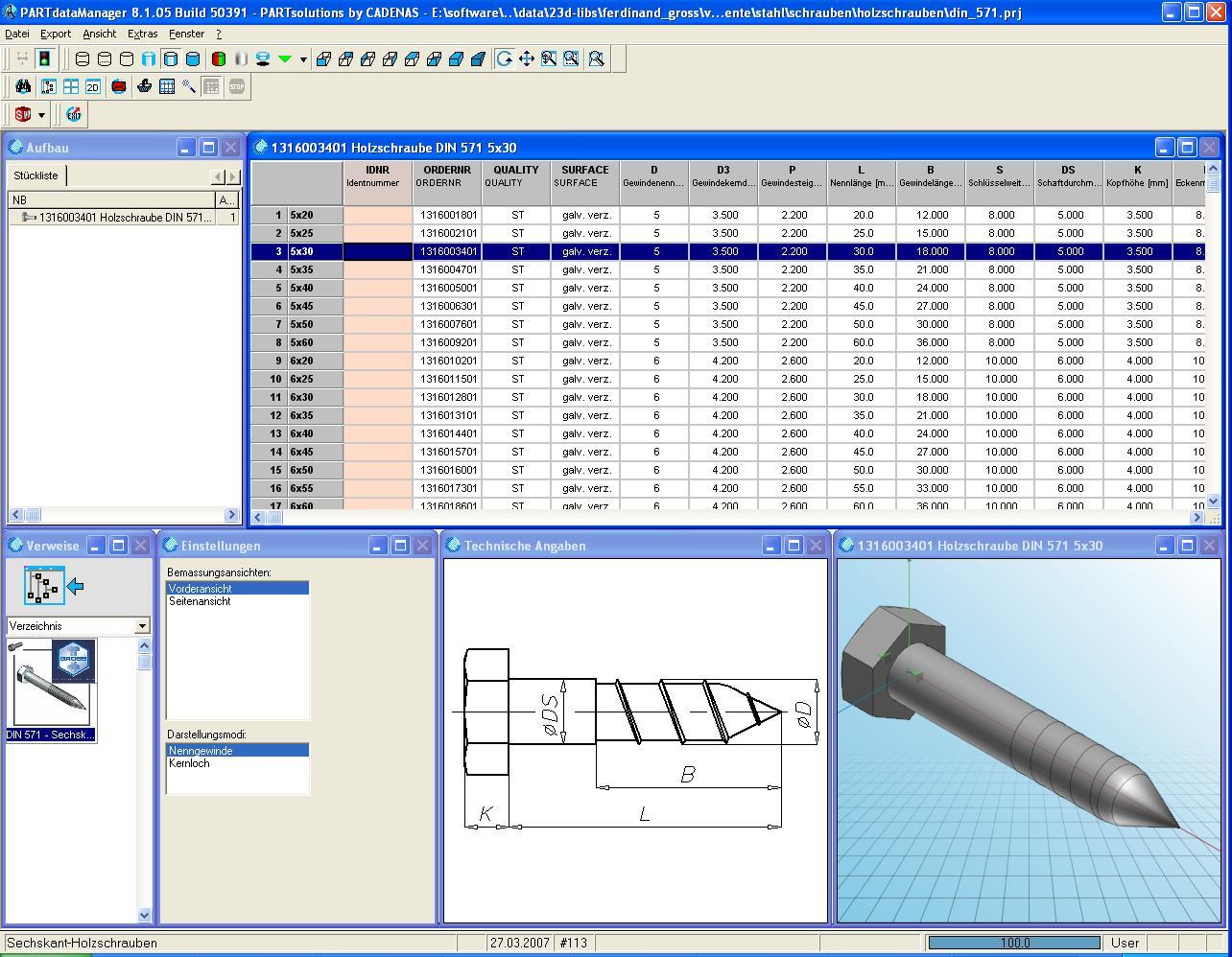 Wundervoll CAD Model Seckskant-Holzschraube DIN 571 10x80 (DS SolidWorks  ZK26