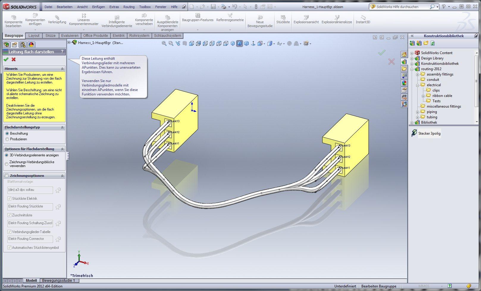 Flachdarstellung von elektrischer Leitung (DS SolidWorks/SolidWorks ...