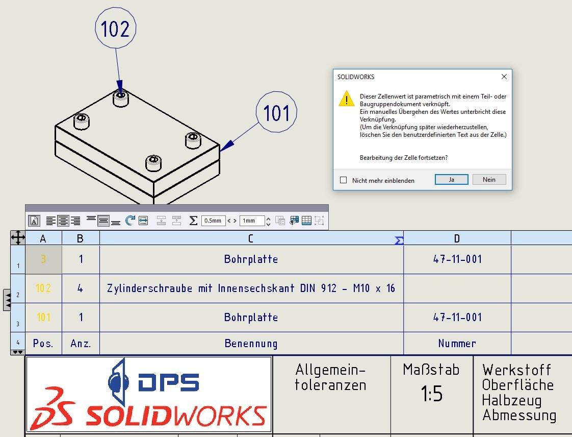 Stücklistensymbole und Verknüfung zu Stückliste (DS SolidWorks ...