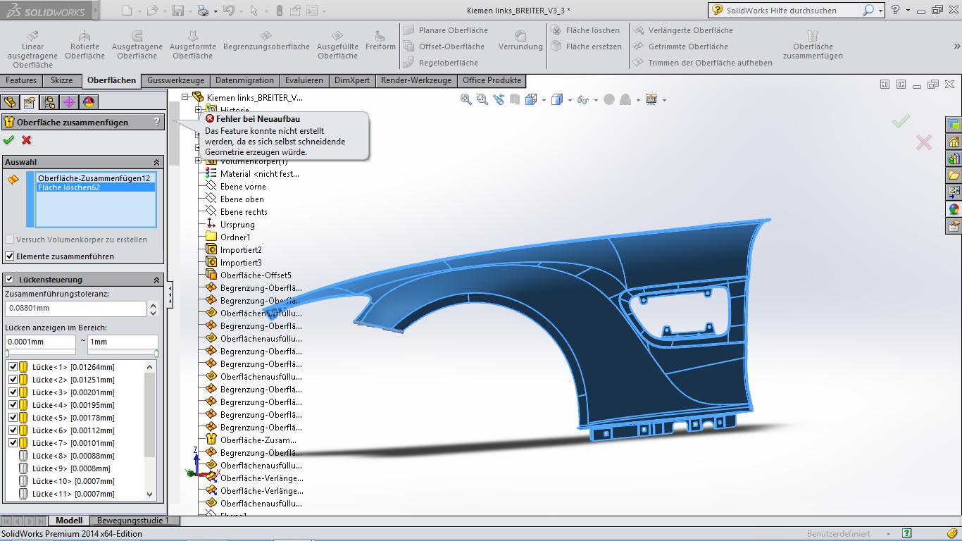 Gescannte iges Datei in SolidWorks bearbeiten (DS SolidWorks ...