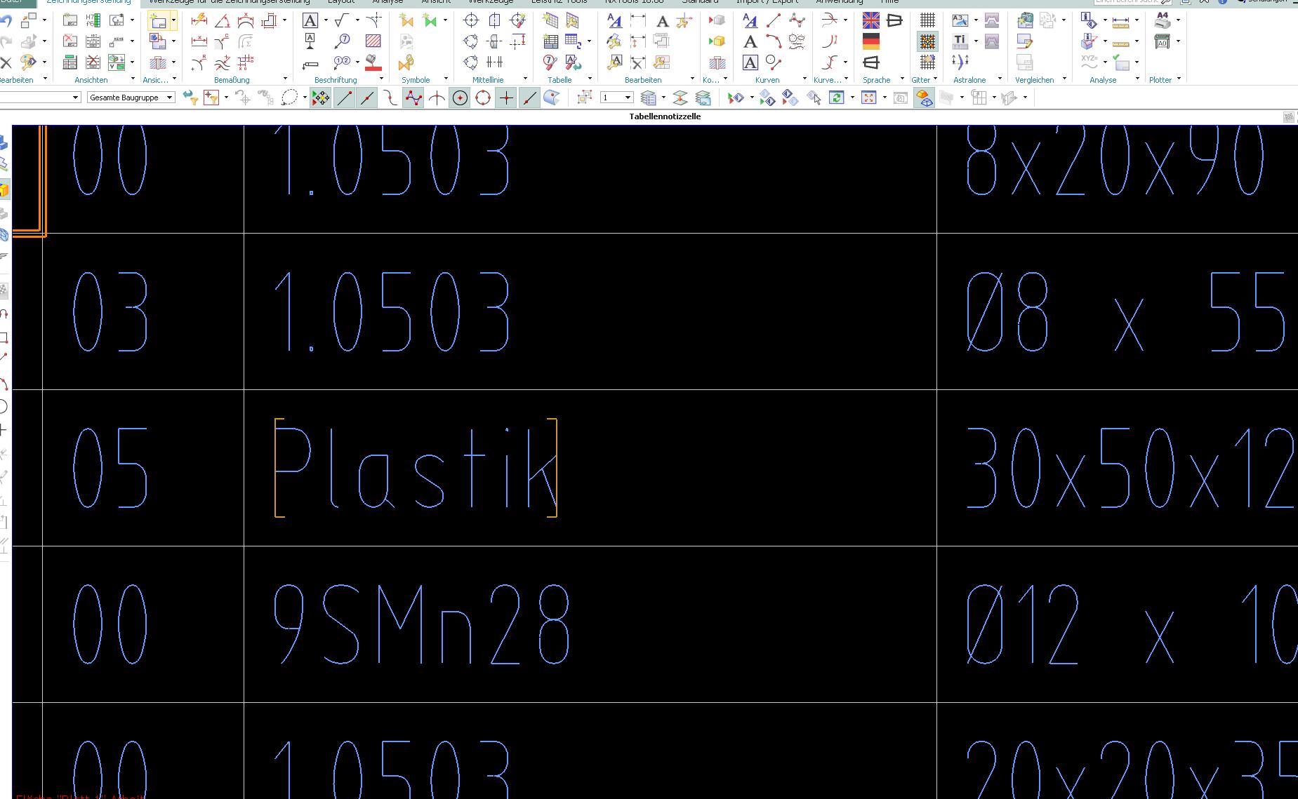Tabelle Zeilenanzahl (NX10) (Siemens PLM Software/NX) - Foren auf CAD.de