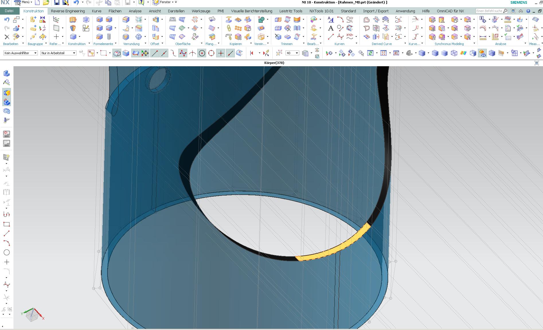 Import, Flächen vernähen, Volumen füllen (Siemens PLM Software/NX ...
