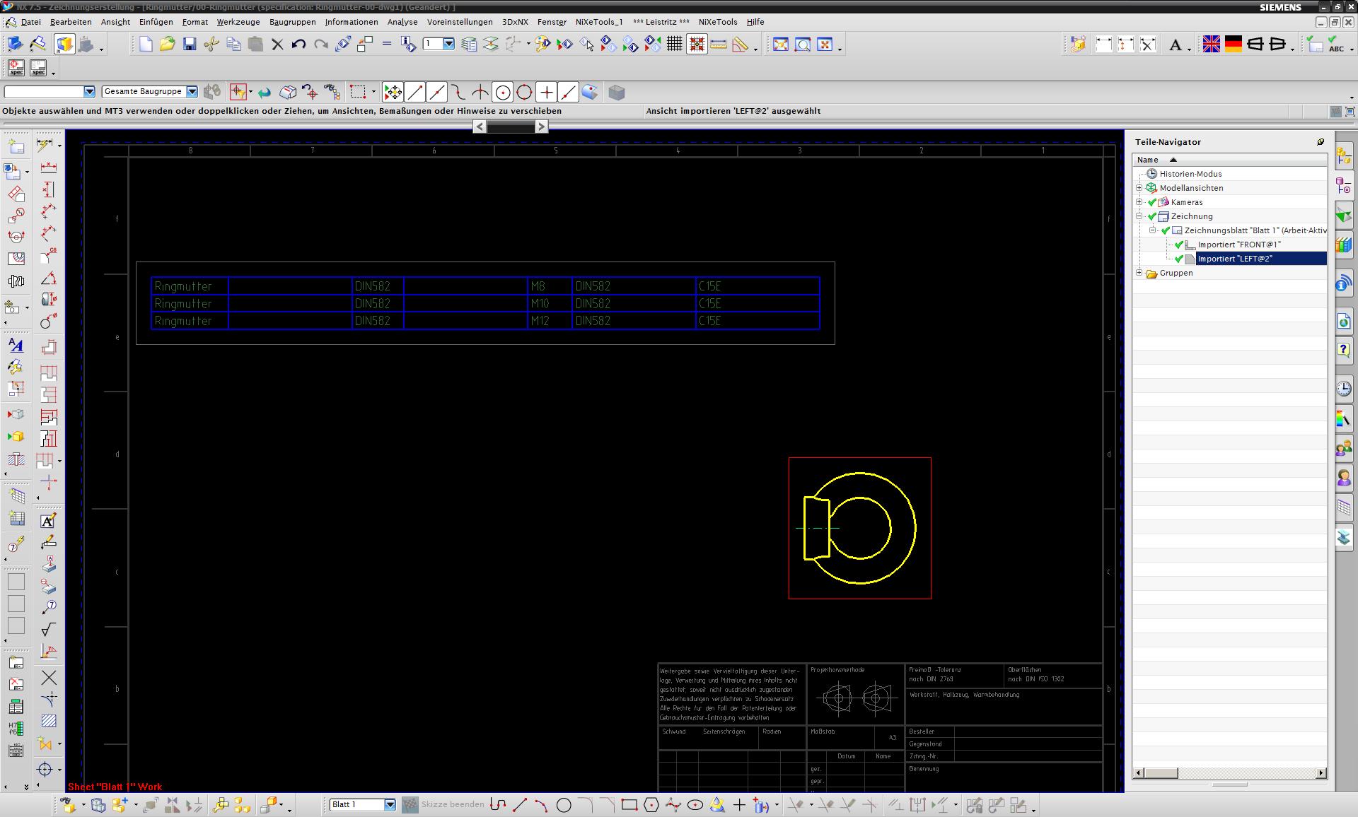 Teilefamilientabelle auf Zeichnung (Siemens PLM Software/NX ...