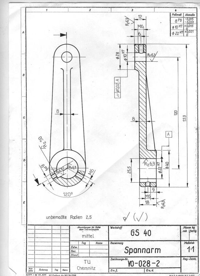Einzelteil in Zeichnungsdarstellung als Drahtmodell (PTC Engineering ...