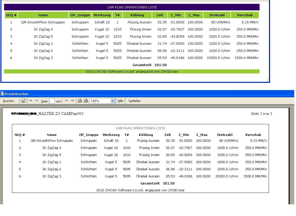 Angepasste WZ Liste und XLM Ausgabe (CAM Systeme - CNC ...