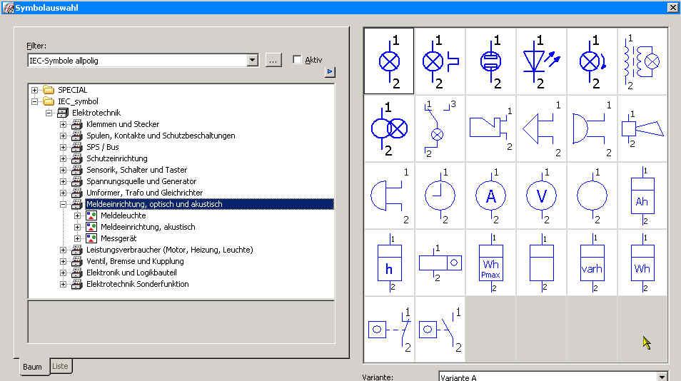 Symbole Meßwandler 100/5, Dreifachumschalter H-0-A, Amperemeter ...
