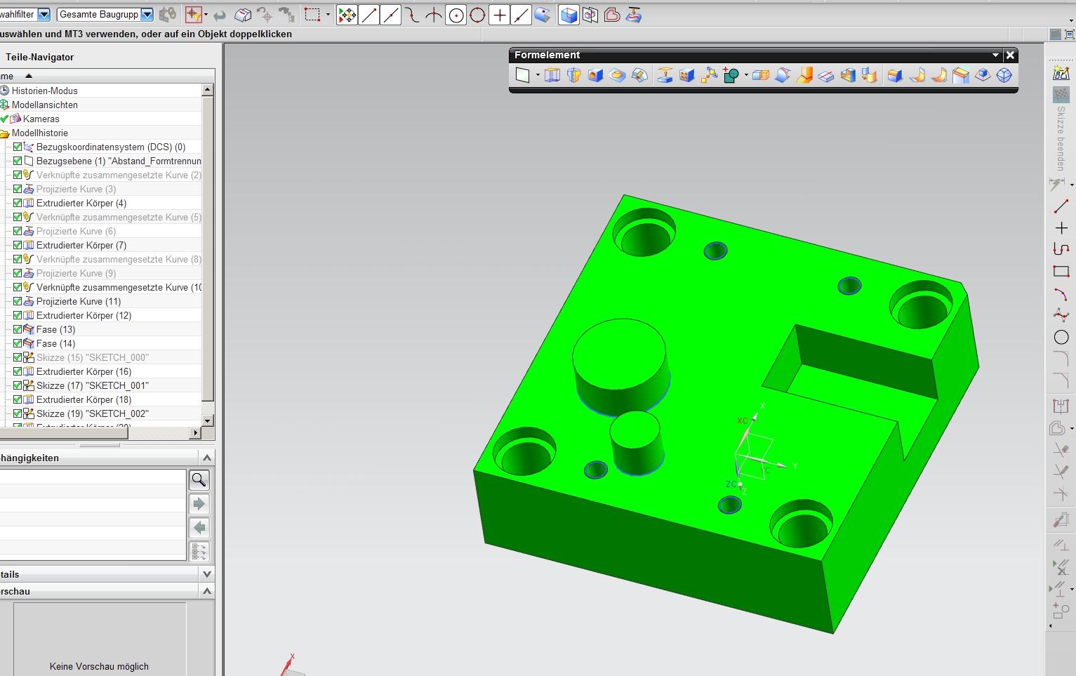 von Zeichnungs,- in 3D Teil Modi wechseln (Siemens PLM Software/NX ...