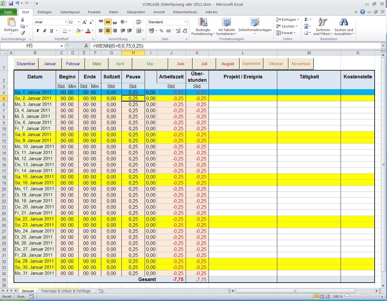 Hilfe! Excel Zeiterfasung Negative Zahlen mit Wenn