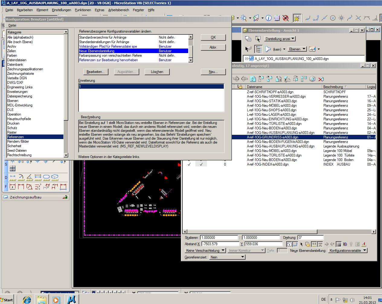 Ebenendarstellung in Referenzdateien (Bentley/MicroStation